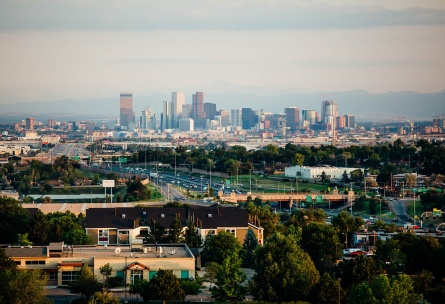 Spectacular views of the Denver skyline at Wedgewood Weddings Brittany Hill – Thornton, Colorado