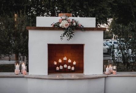 Outdoor fireplace - Lindsay Grove - Mesa, Arizona - Maricopa County - Wedgewood Weddings