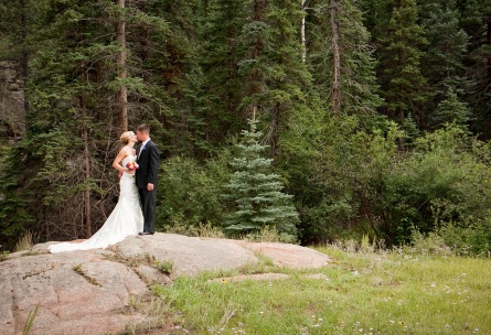 Bride and Groom in the Lush Forest Mountain View Ranch - Pine, Colorado - Jefferson County - Wedgewood Weddings