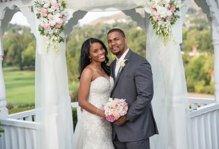 Bride and groom by ceremony gazebo - Indian Hills - Riverside, California - Riverside County - Wedgewood Weddings