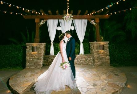 Ceremony space with bistro lighting - Menifee Lakes - Menifee, California - Riverside County - Wedgewood Weddings