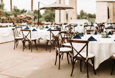 Outdoor wedding reception on the patio at Wedgewood Weddings Ocotillo.