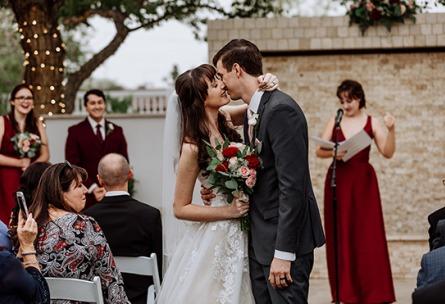 Bride and groom kiss - Lindsay Grove - Mesa, Arizona - Maricopa County - Wedgewood Weddings