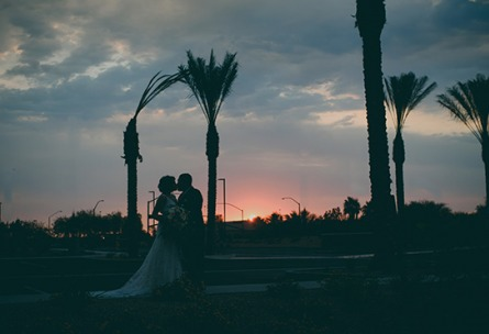 Bride and groom at sunset - Colby Falls - Gilbert, Arizona - Maricopa County - Wedgewood Weddings