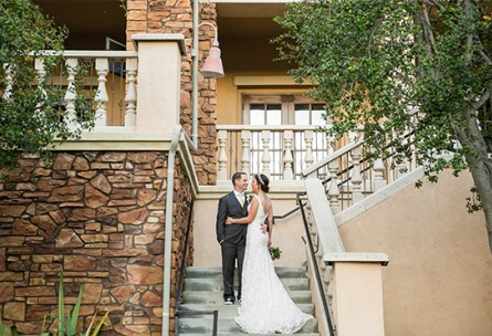 Couple on the stairs - Vellano - Chino Hills, California - San Bernardino County - Wedgewood Weddings