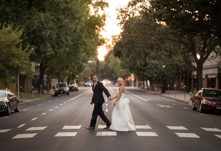 Crosswalk couple - Sterling Hotel - Sacramento, California - Sacramento County - Wedgewood Weddings
