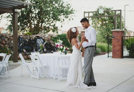 Bride and Groom on the patio - Evergreen Springs - Elk Grove, California - Sacramento County - Wedgewood Weddings