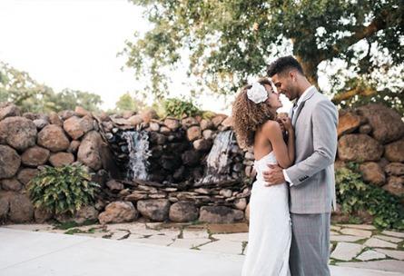 Newlyweds posing for romantic photos - Evergreen Springs - Elk Grove, California - Sacramento County - Wedgewood Weddings
