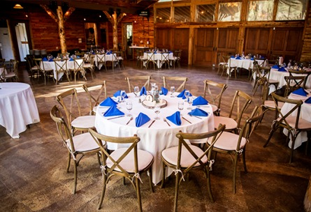 Indoor Reception Inside the Rustic Ballroom Mountain View Ranch - Pine, Colorado - Jefferson County - Wedgewood Weddings