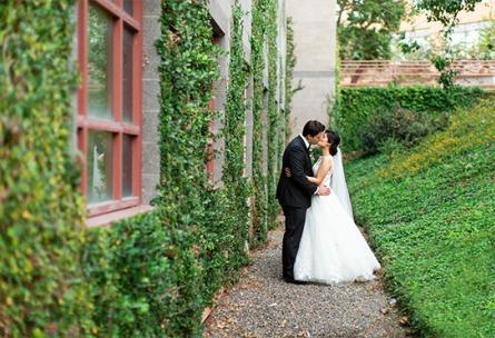 Bride and groom with climbing ivy - University Club - Irvine, California - Orange County - Wedgewood Weddings
