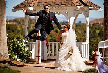Jumping for joy groom - Indian Hills - Riverside, California - Riverside County - Wedgewood Weddings