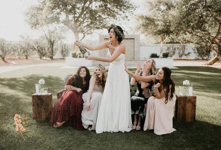 Fun bridal party popping champagne - Lindsay Grove - Mesa, Arizona - Maricopa County - Wedgewood Weddings