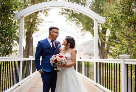 Bride and Groom on Bridge - Redwood Canyon - Castro Valley, California - Alameda County - Wedgewood Weddings