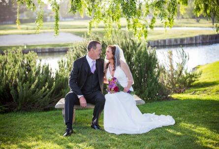 Happy Newlyweds on a Bench - San Ramon - San Ramon, California - Contra Costa County - Wedgewood Weddings