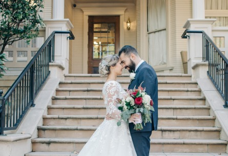 Bride and groom by picturesque entryway - Sterling Hotel - Sacramento, California - Sacramento County - Wedgewood Weddings