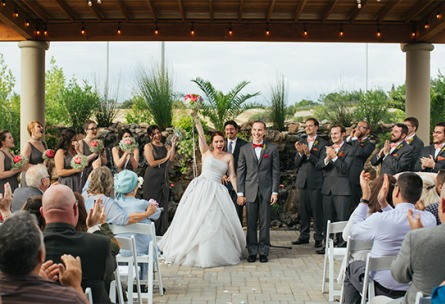 Happy couple celebrating their wedding ceremony - Union Brick - Roseville, California, Placer County - Wedgewood Weddings