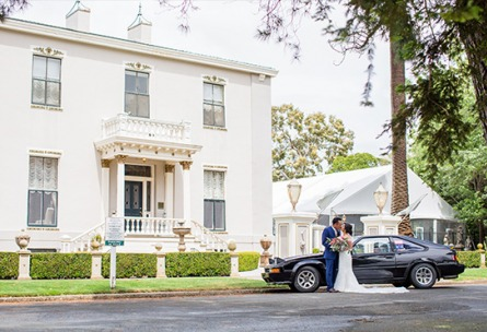 Couple by Vintage Car - Jefferson Street Mansion - Benicia, California - Solano County - Wedgewood Weddings