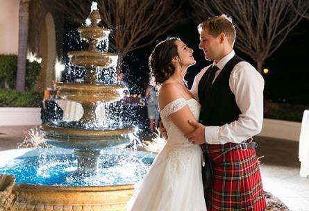 Bride and Groom by Fountain - Fallbrook - Fallbrook, California - San Diego County - Wedgewood Weddings