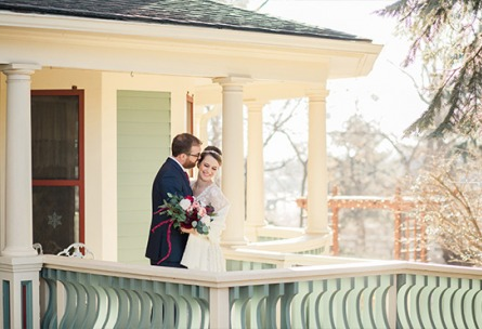 Couple on Porch -  Tapestry House - Laporte, Colorado - Larmier County - Wedgewood Weddings