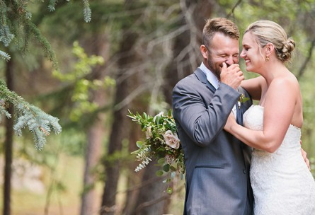 Laughing Couple - Mountain View Ranch - Pine, Colorado - Jefferson County - Wedgewood Weddings