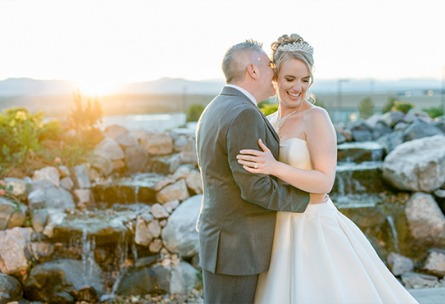 Blissful couple by waterfalls - Ashley Ridge - Littleton, Colorado - Arapahoe County - Wedgewood Weddings