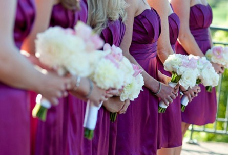 Bridesmaids with purple dresses - Union Brick - Roseville, California, Placer County - Wedgewood Weddings