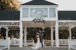 Wedding ceremony beneath our grand gazebo at Wedgewood Weddings Lindsay Grove