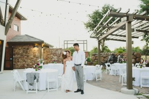 Bride and Groom at an outdoor wedding reception in Elk Grove, CA.