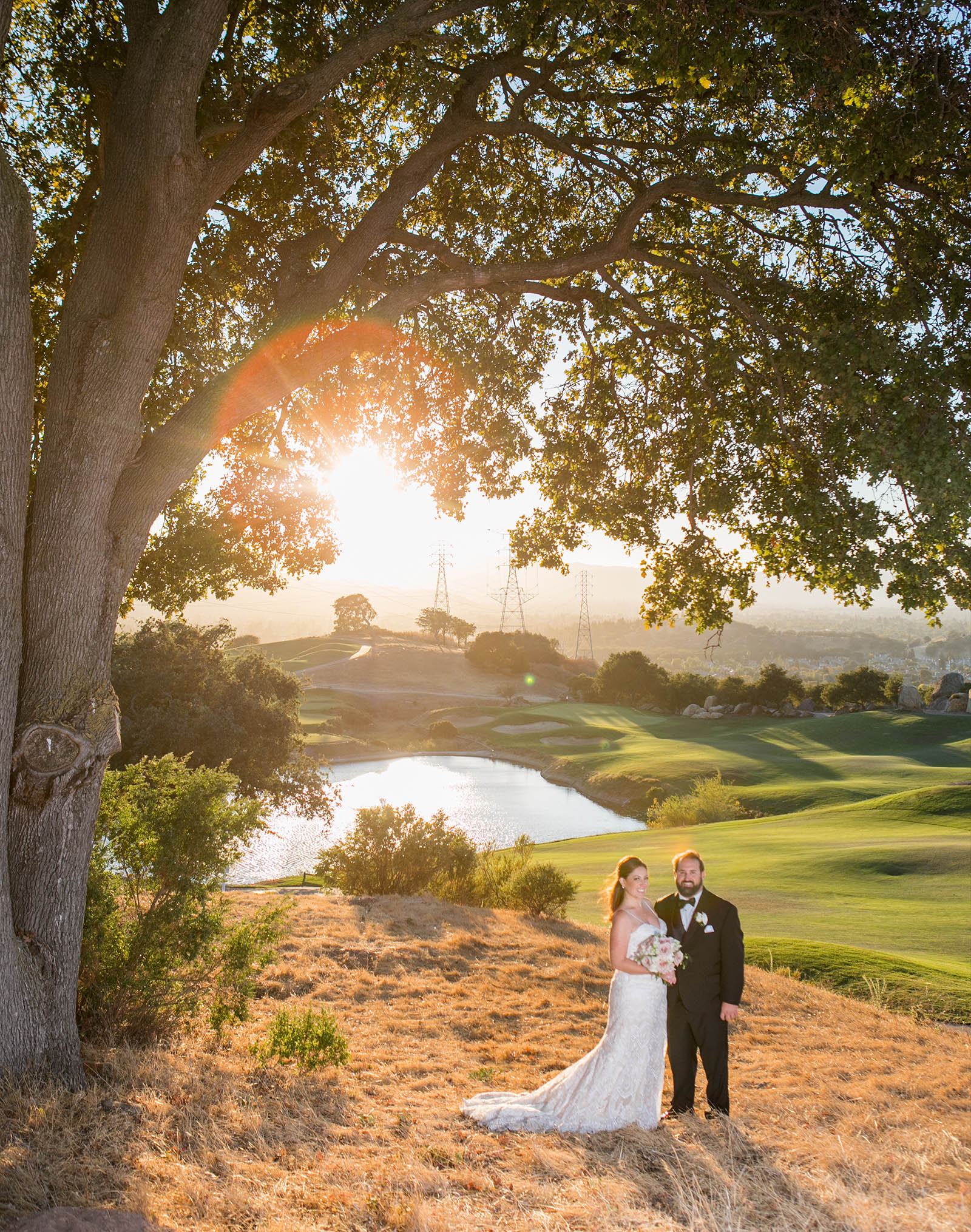 Couple posing with the view - Boulder Ridge - Los Gatos, California - San Jose, California - Santa Clara County - Wedgewood Weddings