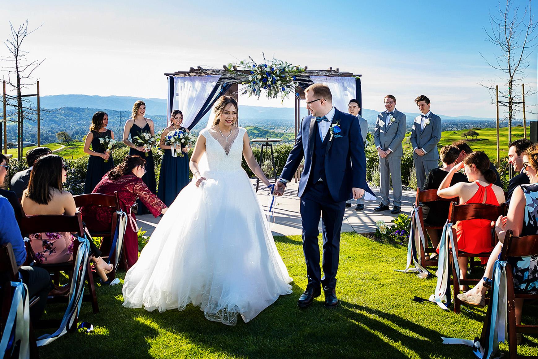 Blue Accented Ceremony - Boulder Ridge - Los Gatos, California - San Jose, California - Santa Clara County - Wedgewood Weddings