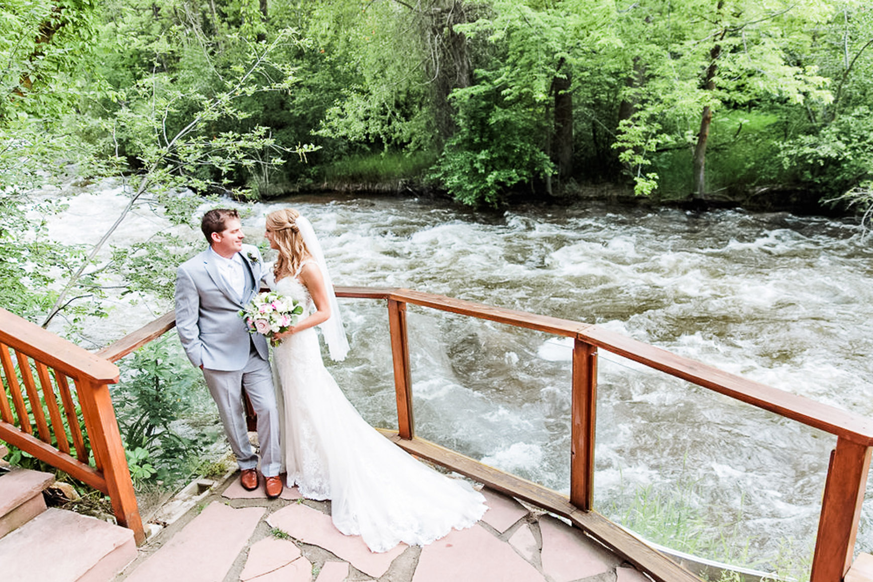 Couple Standing by Creek  - Boulder Creek - Boulder, Colorado - Boulder County - Wedgewood Weddings