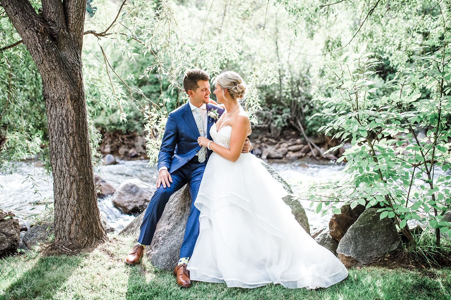 Couple Sitting by Creek - Boulder Creek - Boulder, Colorado - Boulder County - Wedgewood Weddings