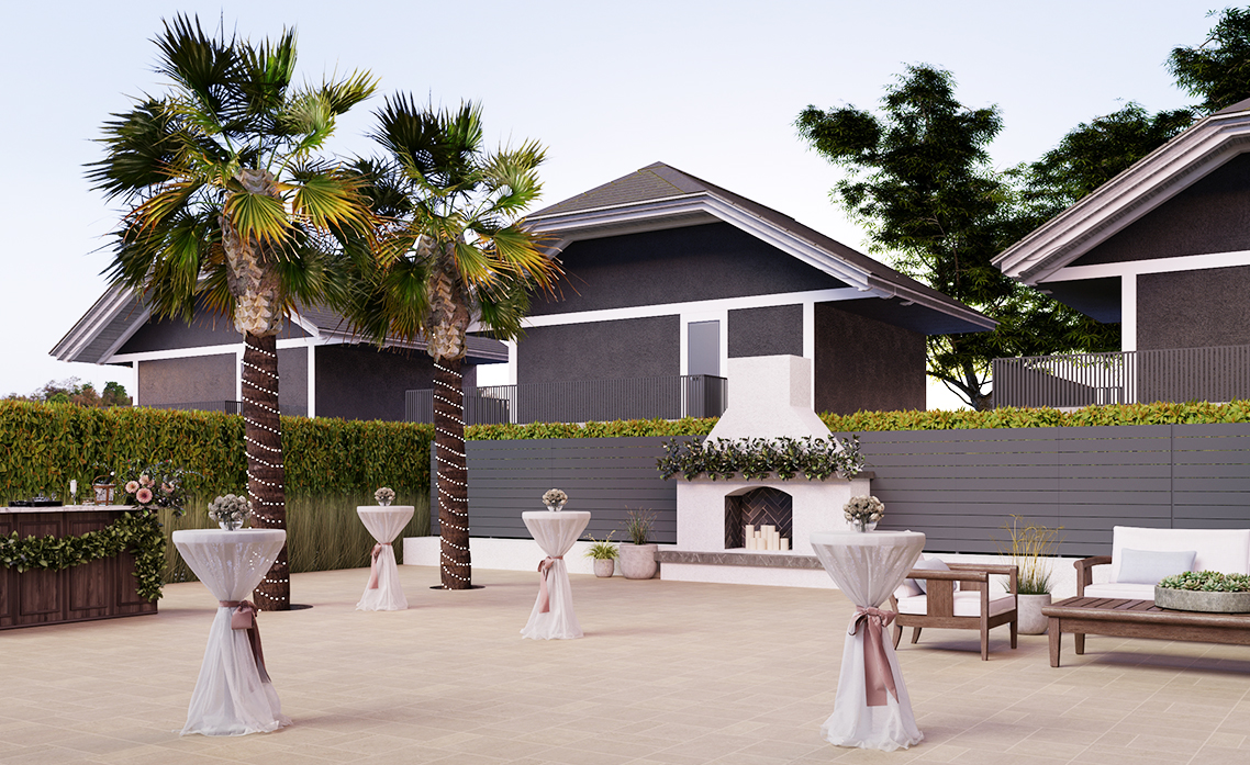 Cocktail Patio Rendering - Carlsbad Windmill - Carlsbad, California - San Diego County - Wedgewood Weddings