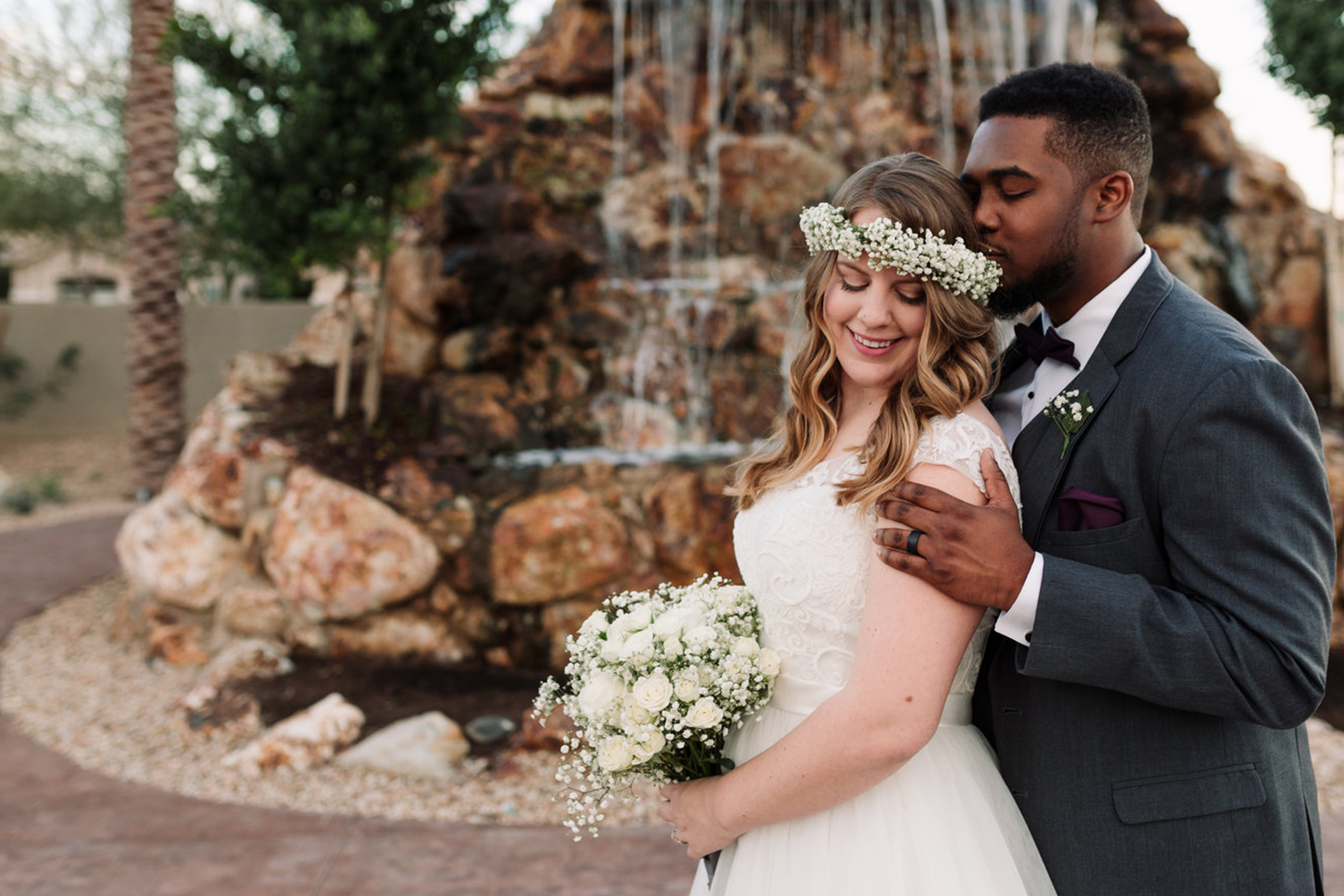 Bride and groom - Colby Falls - Gilbert, Arizona - Maricopa County - Wedgewood Weddings