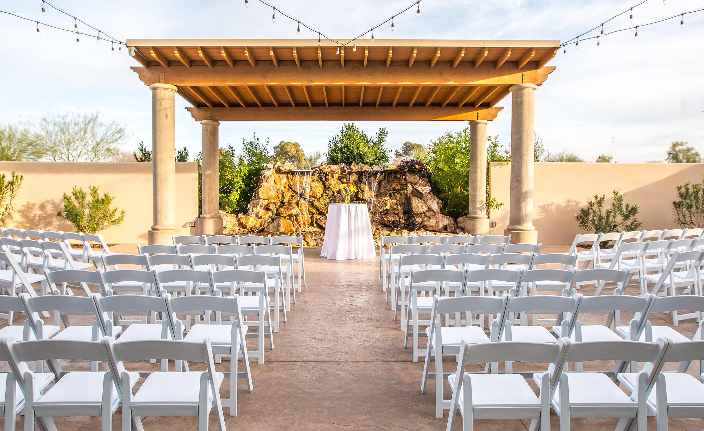 East Valley wedding ceremony site - Colby Falls - Gilbert, Arizona - Maricopa County - Wedgewood Weddings