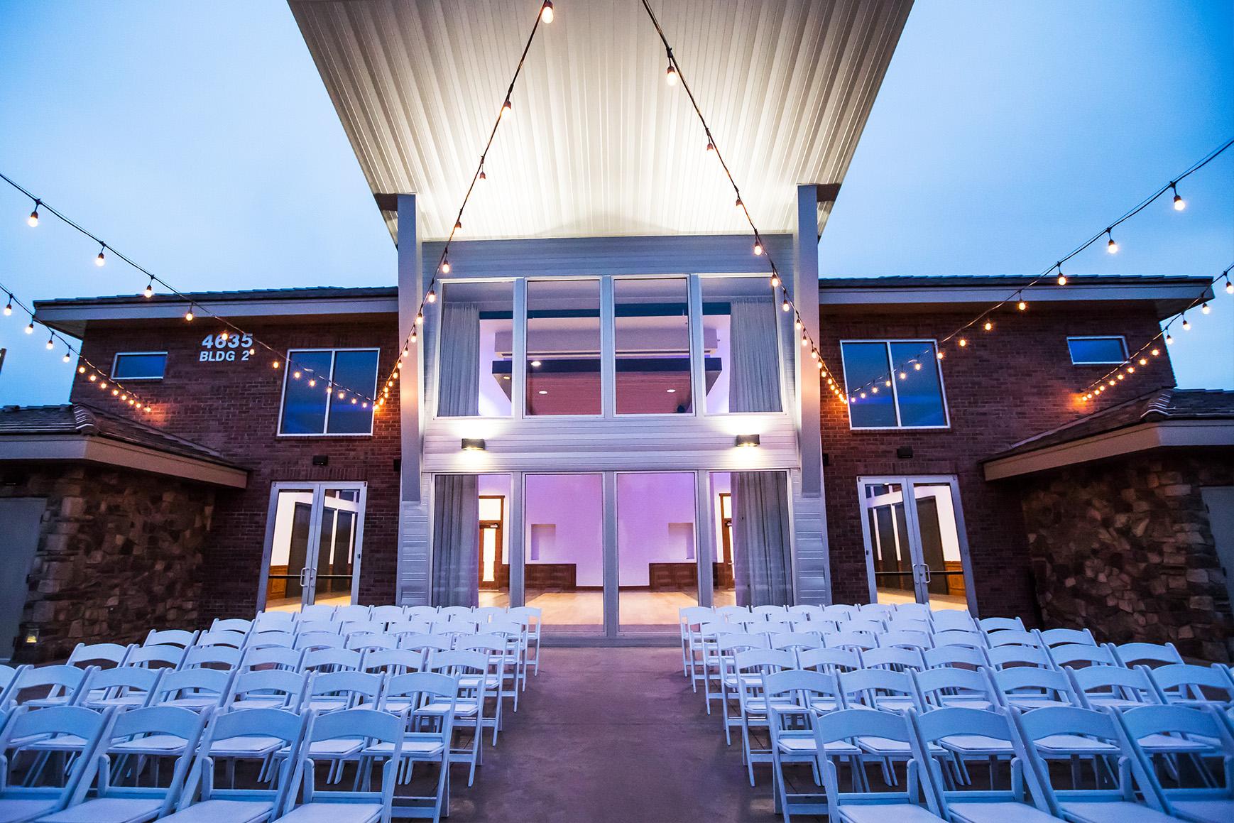Nighttime wedding ceremony - Colby Falls - Gilbert, Arizona - Maricopa County - Wedgewood Weddings