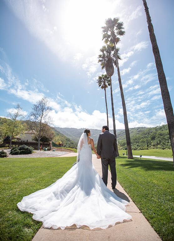 Newlyweds and palm trees - Eagle Ridge - Gilroy, California - Santa Clara County - Wedgewood Weddings