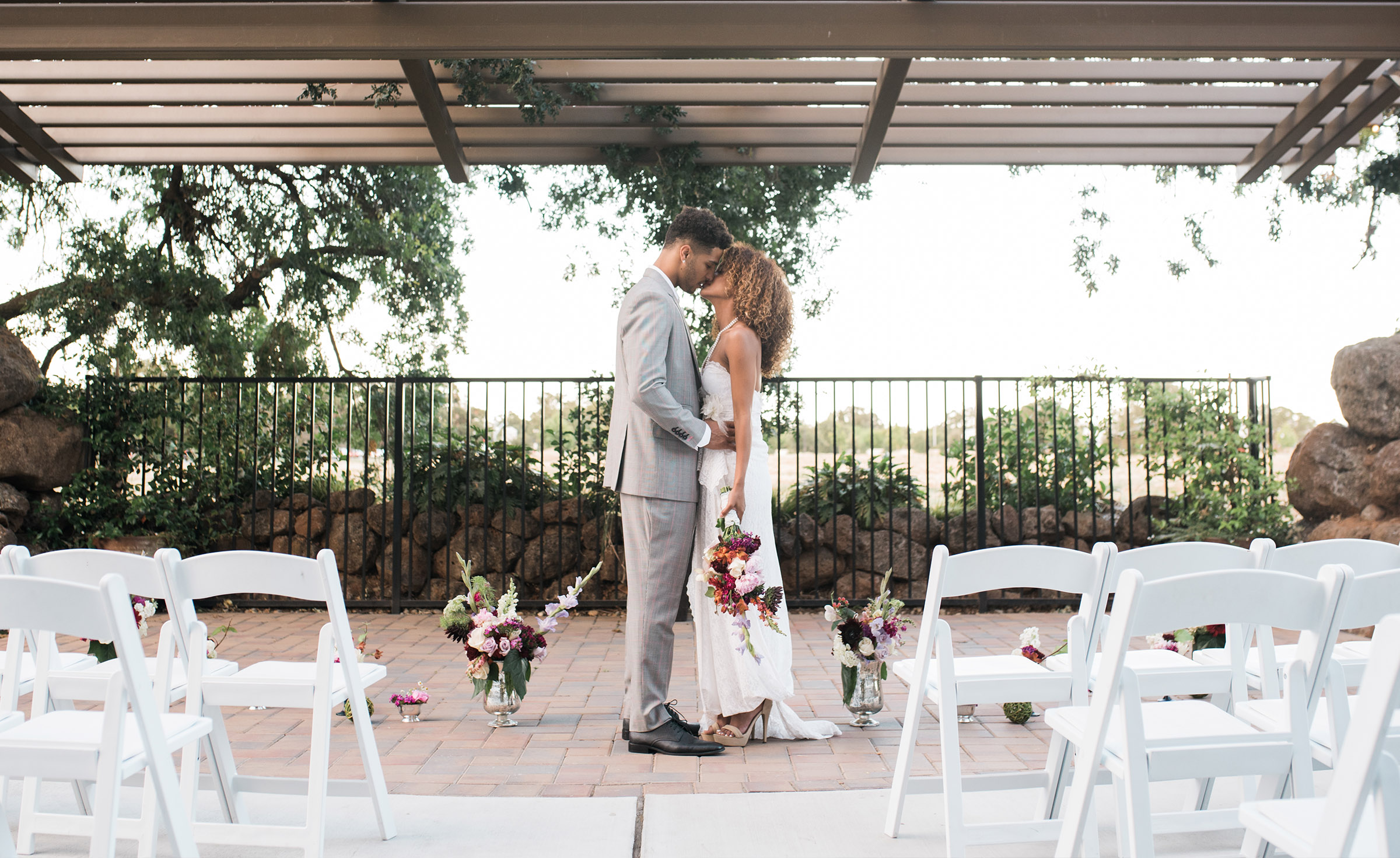 Bride and Groom at outdoor ceremony site - Evergreen Springs - Elk Grove, California - Sacramento County - Wedgewood Weddings