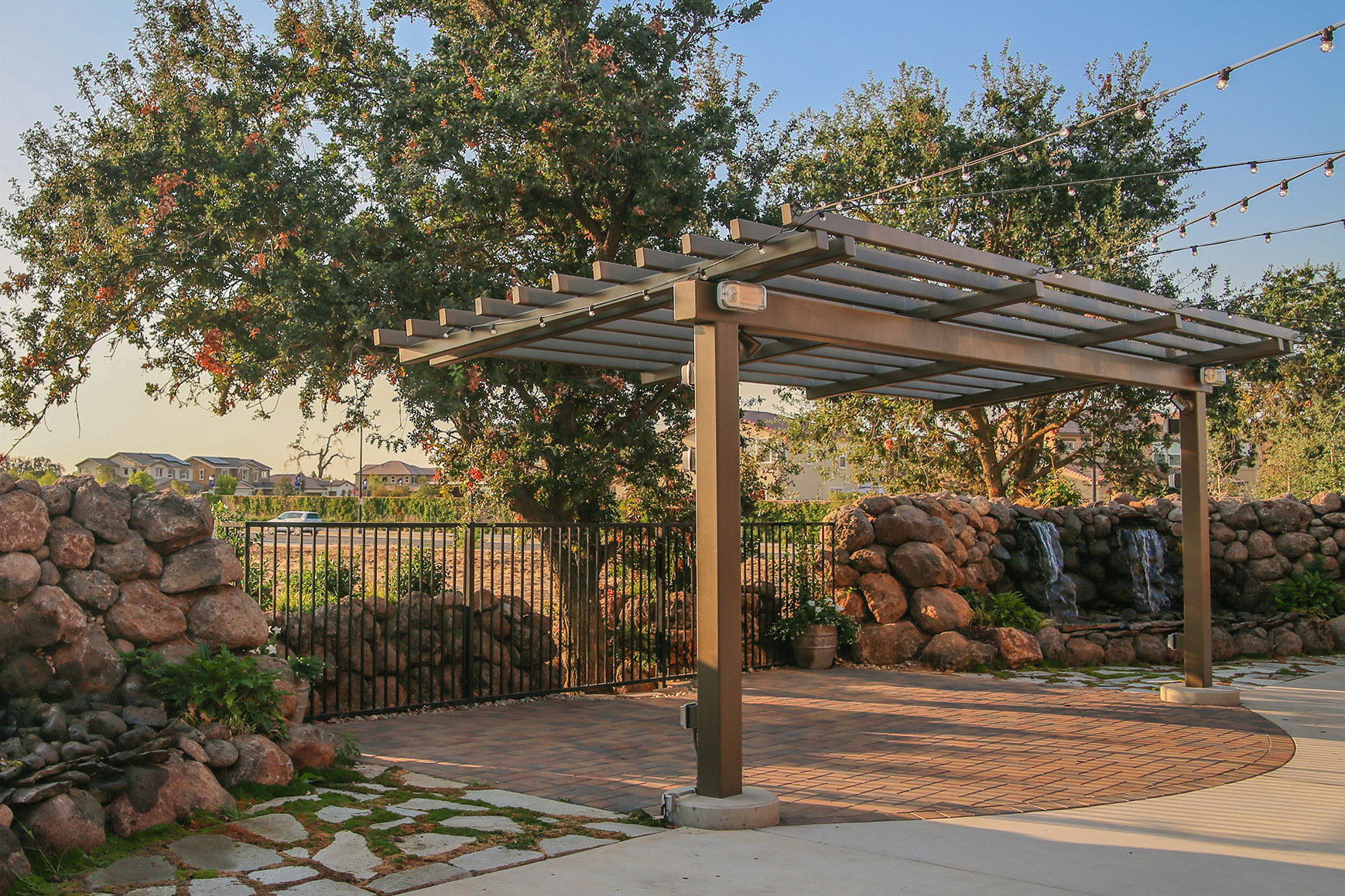 Pergola and waterfall at Evergreen Springs in Elk Grove.