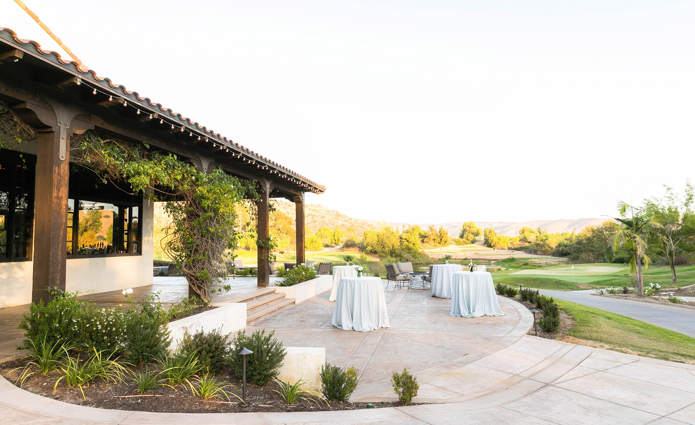 Outdoor cocktail patio - Fallbrook - Fallbrook, California - San Diego County - Wedgewood Weddings
