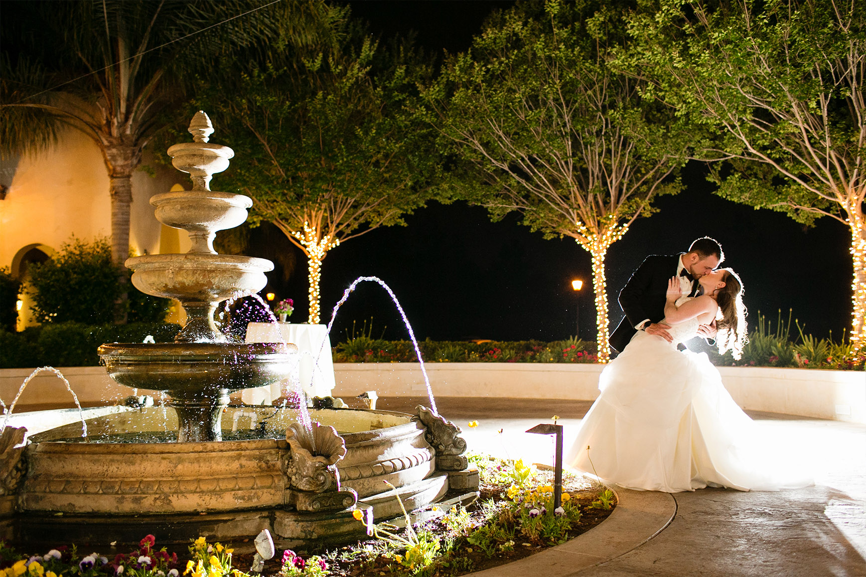 Bride and Groom by Fountain - Fallbrook - Fallbrook, California - San Diego County - Wedgewood Weddings