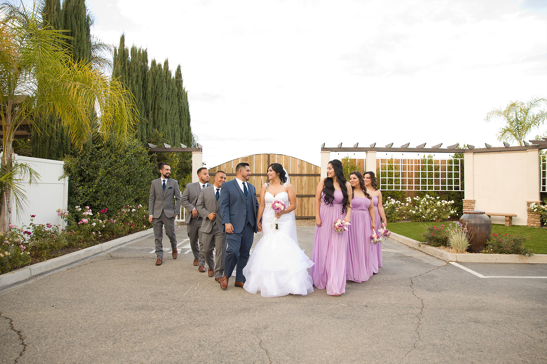 Bridal party in the garden - Fresno - Fresno, California - Frenso County - Wedgewood Weddngs