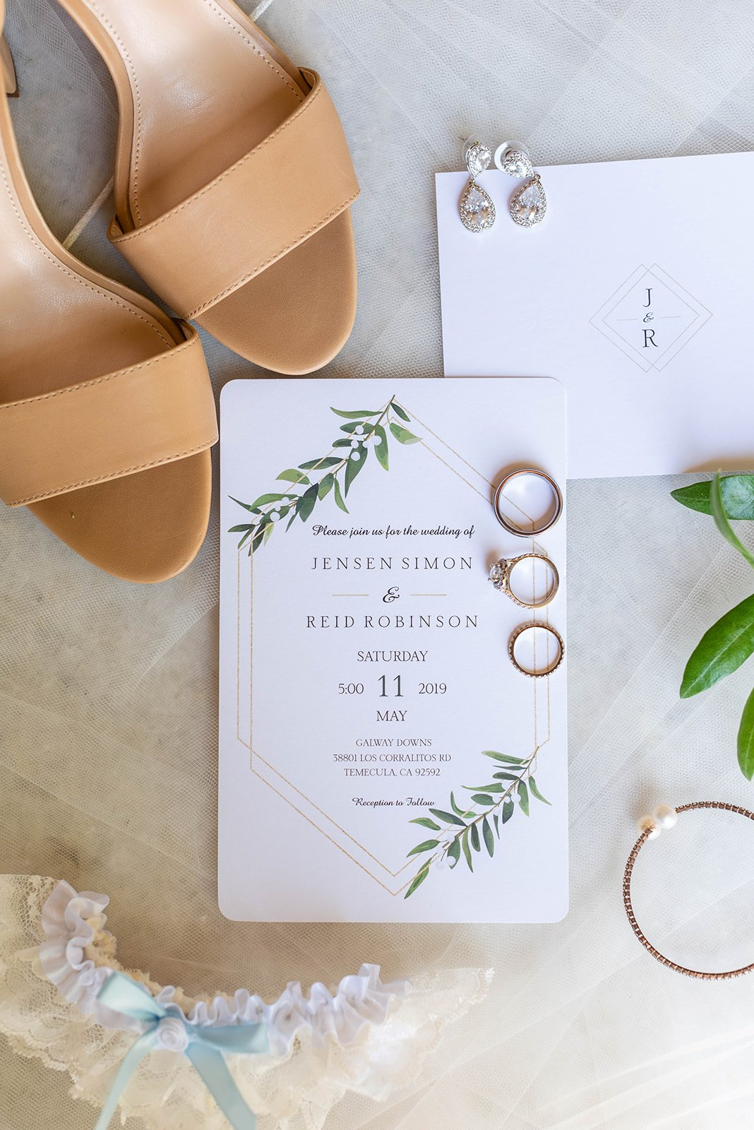 Gold and floral wedding invite