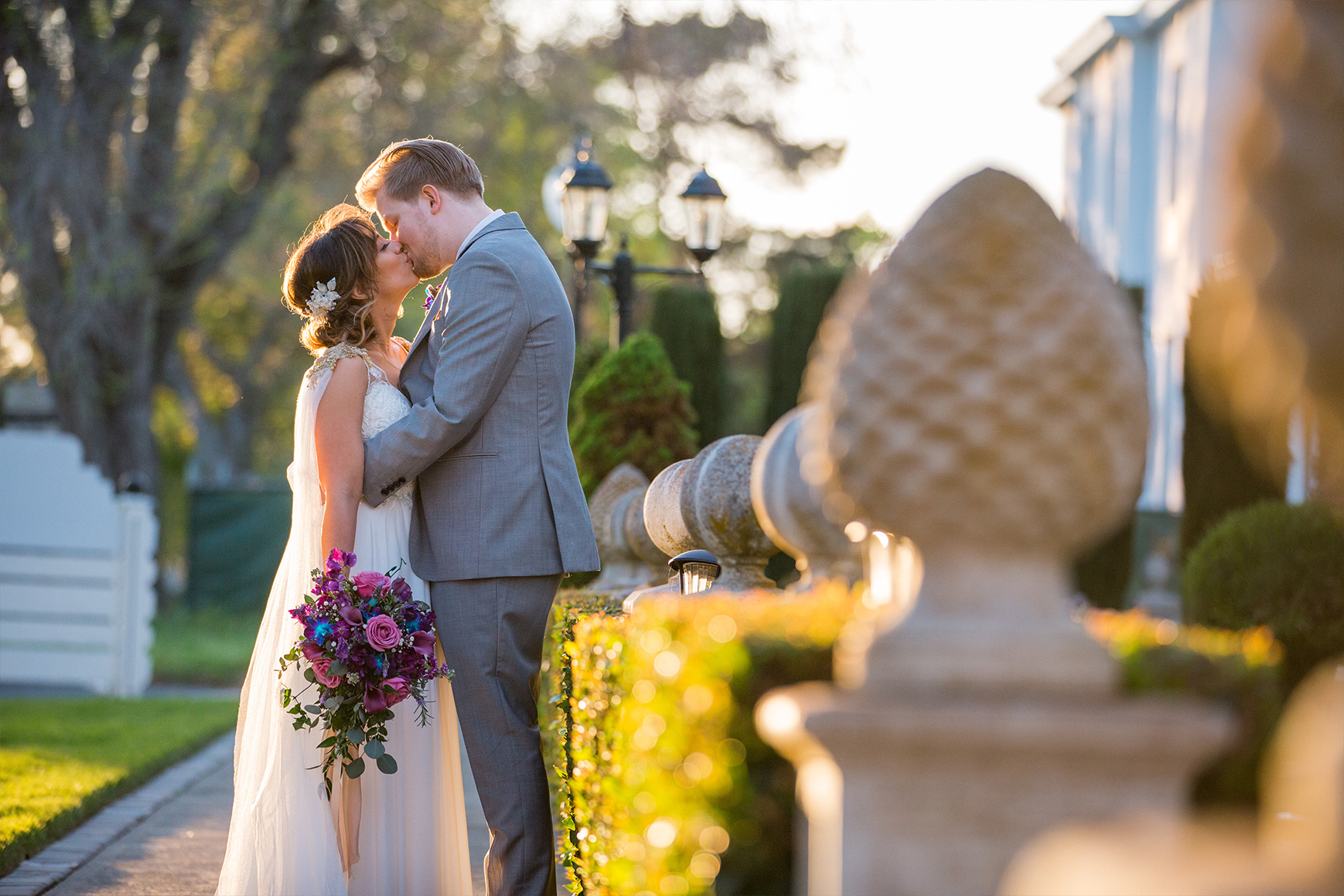 Couple posing in front of the mansion - Jefferson Street Mansion - Benicia, California - Solano County - Wedgewood Weddings
