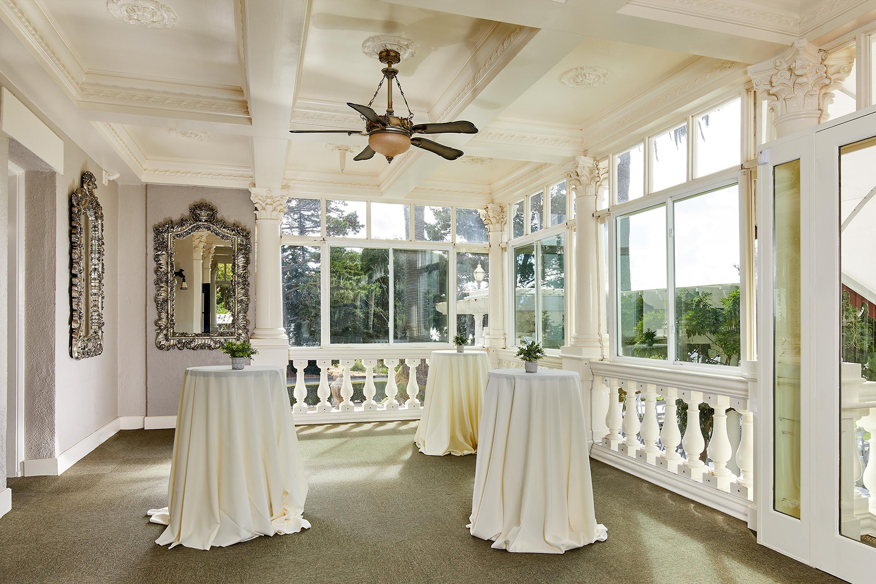 Sunlight veranda for cocktail hour  - Jefferson Street Mansion - Benicia, California - Solano County - Wedgewood Weddings