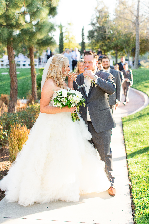 newlyweds toast at Vellano Estate