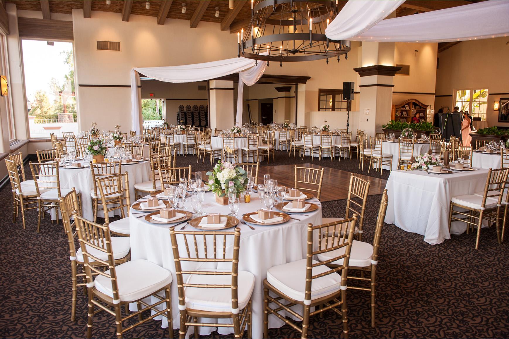 Reception with floor-to-ceiling windows - Menifee Lakes - Menifee, California - Riverside County - Wedgewood Weddings