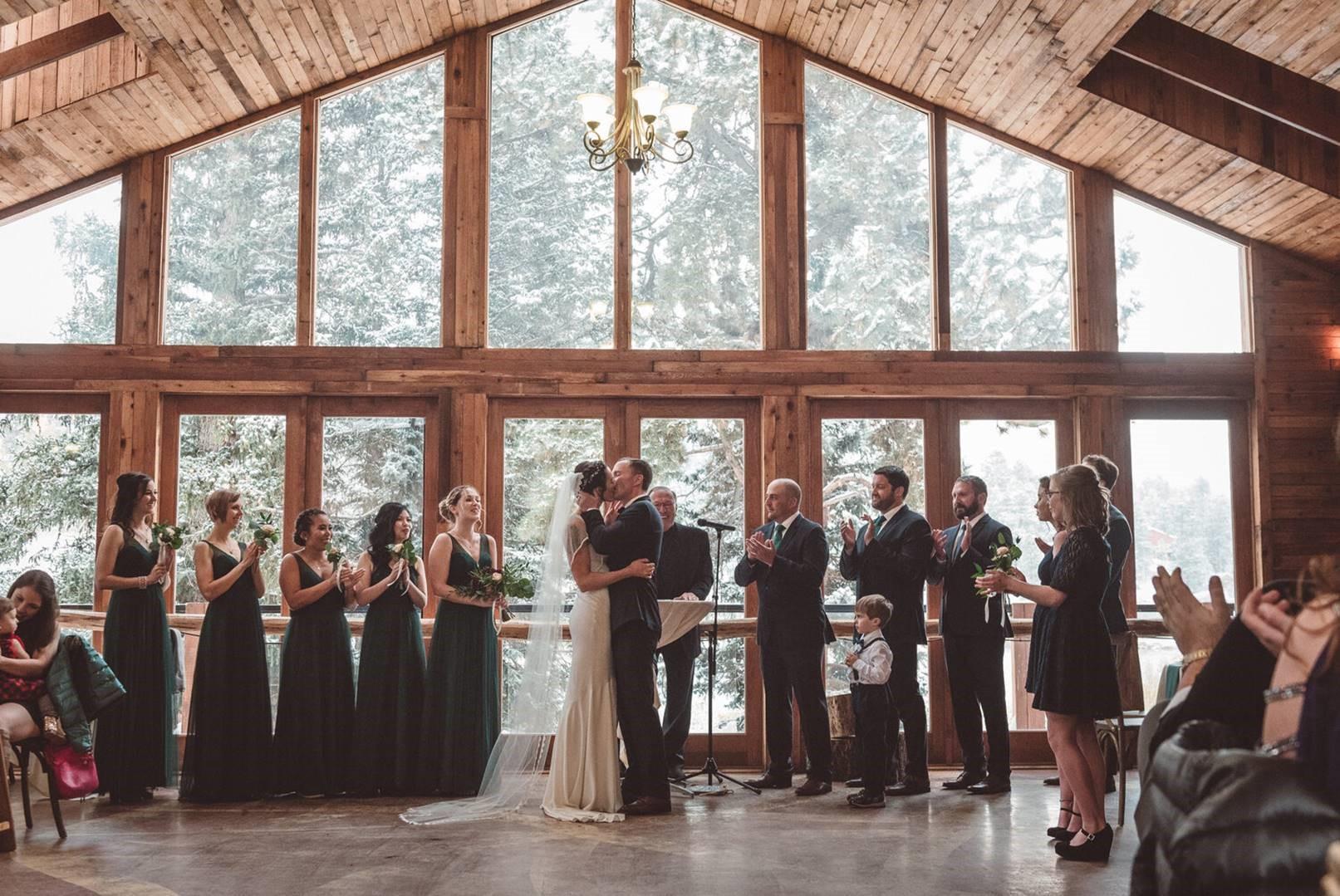 Indoor Ceremony - Mountain View Ranch - Pine, Colorado - Jefferson County - Wedgewood Weddings