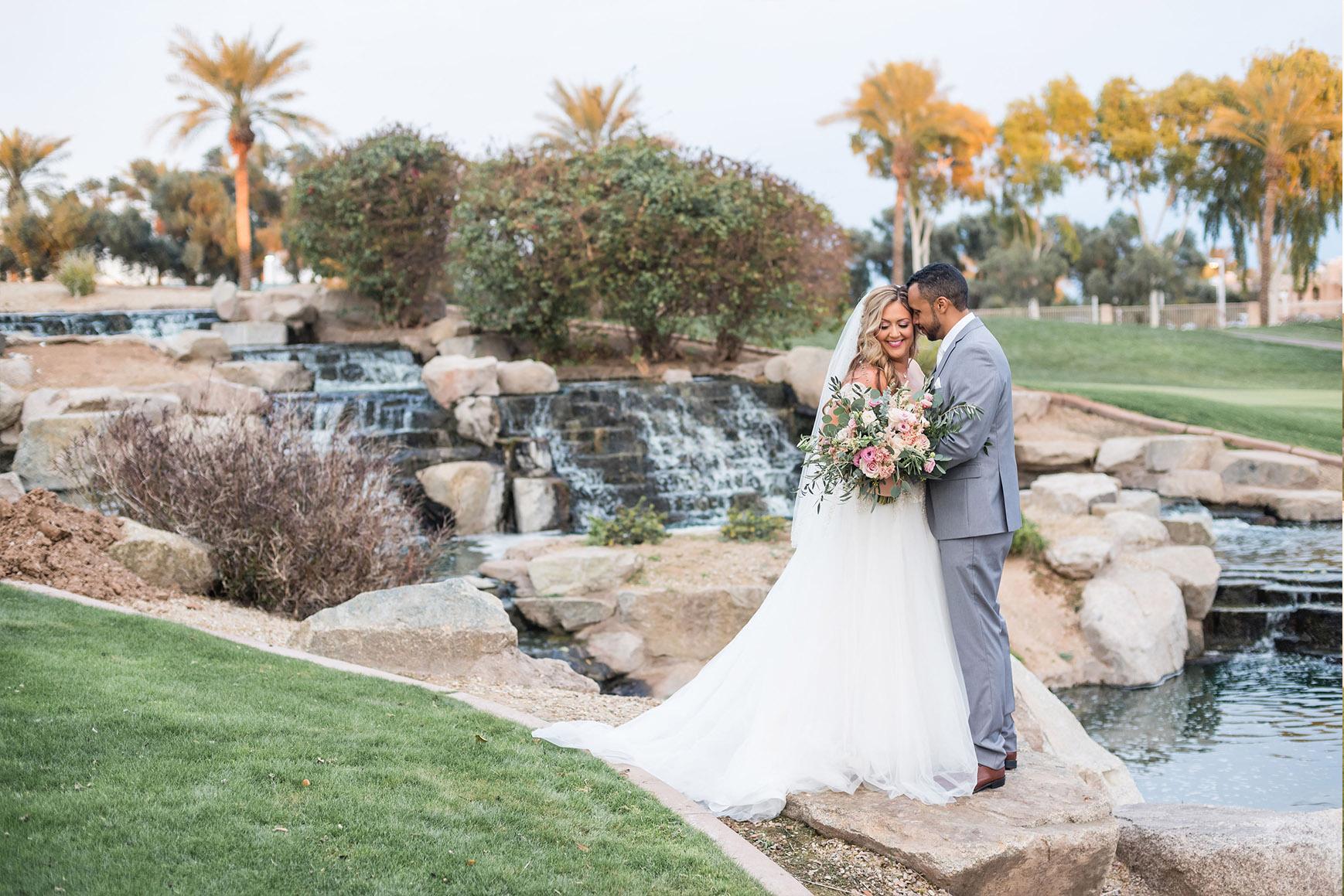 Intimate moment between bride and groom - Ocotillo - Chandler, Arizona - Maricopa County - Wedgewood Weddings