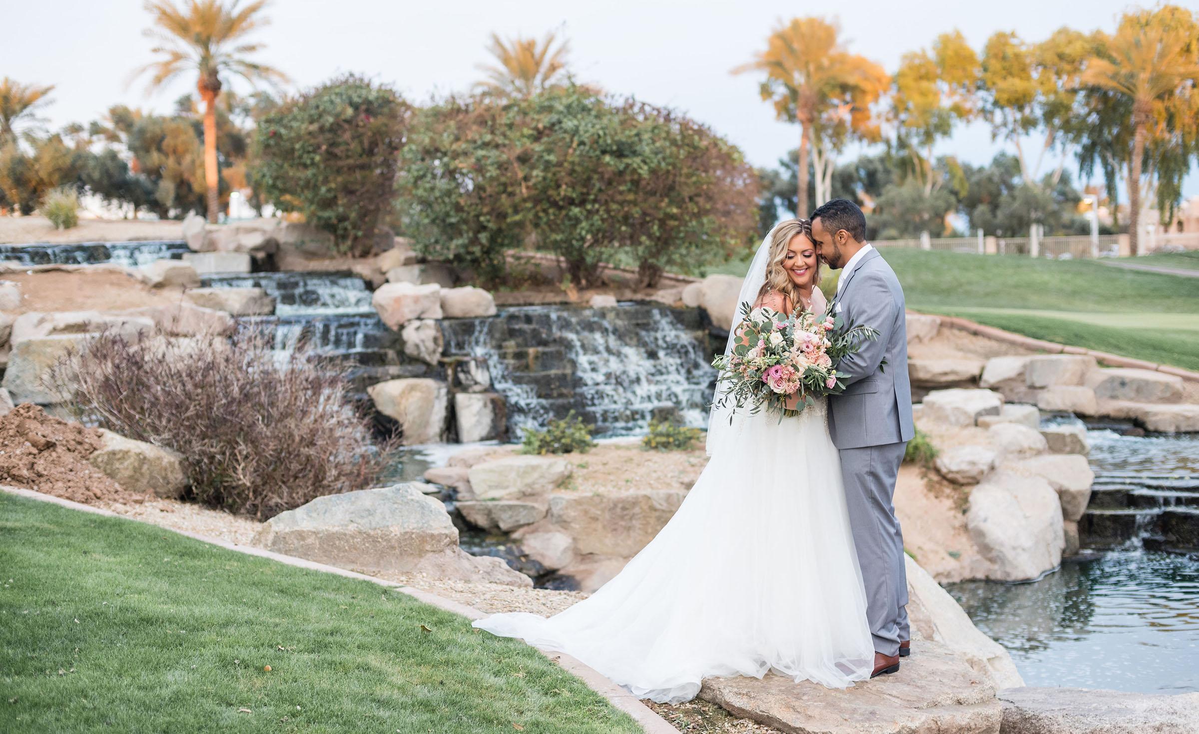Beautiful waterfall feature - Ocotillo - Chandler, Arizona - Maricopa County - Wedgewood Weddings